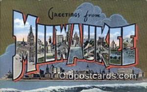 Milwaukee, Wisconsin, USA Large Letter Town Postcard Post Card Old Vintage An...