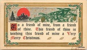 1909 Arts Crafts Christmas Saying Red Cross Stamp postcard 687