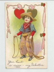 Antique POSTCARD ~Your Heart is Mine VALENTINE ~ Cowboy Hat Lasso