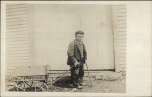 Yarmouth ME Midget/Dwarf Billy Lawrence Pulling Wagon RPPC c1910 myn