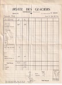 Hotel De Glaciers Combloux 1939 WW2 French Receipt