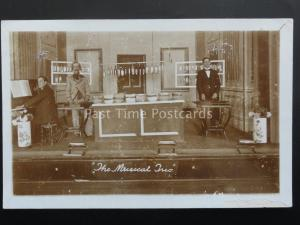 THE MUSICAL TRIO Novelty Percussion Act Use BOTTLES BOWLS etc c1905 RP Postcard