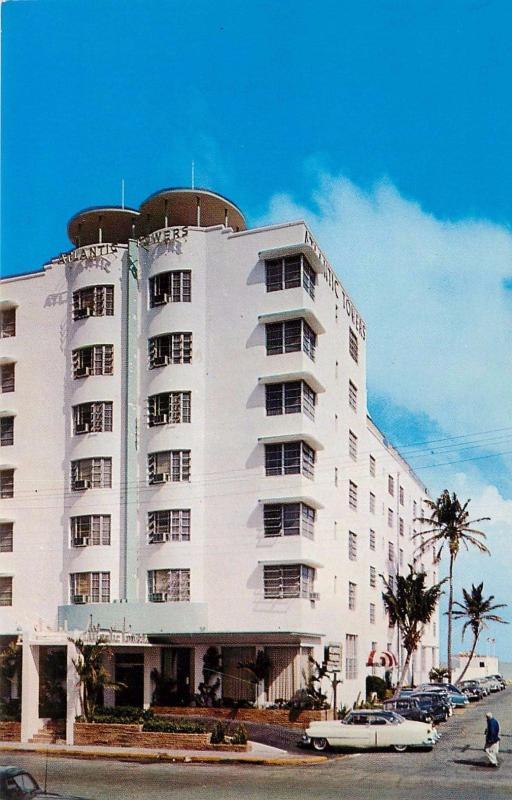 Atlantic Towers Hotel Cabana Club Miami Beach Florida Old Cars