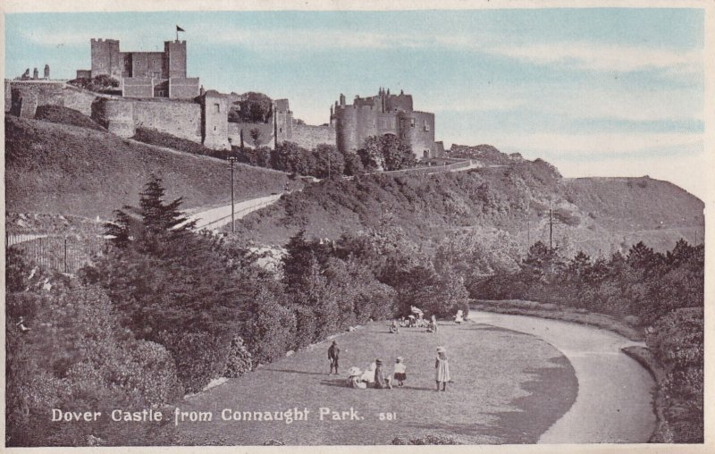 RP; DOVER, Kent, England, 1920-1940s; Dover Castle From Connaught Park