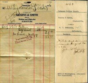 LEBANON KY - KEARNS & SMITH 1916 FURNITURE / INVOICE & Police Court Warrant