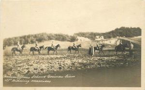 C-1918 WW1 Military German Officers exercise RPPC Photo Postcard 13435 horses