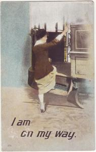 P316 JL old postcard 1917 woman, trolly i,am on my way used w/old stamp