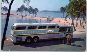 Vintage GREYHOUND BUS LINES Advertising Postcard Super Scenicruiser / Beach