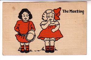 The Meeting, Cute Kids, Boy, Girl, Red and Black, Linen Comics,  Series 100,