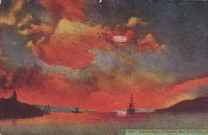 Golden Gate at Sunset, Sail Boat,  San Francisco, California, PU-1918