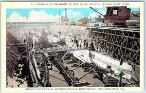 1926 Philadelphia Expo Postcard 11 Submarines in Dry Dock, League Island
