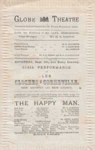 The Happy Man Victorian Globe French Les Cloches De Corneville Theatre Programme