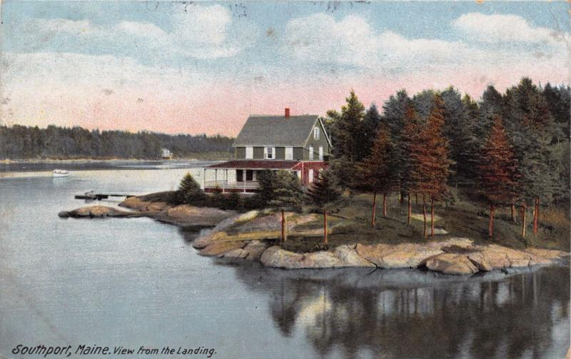 SOUTHPORT MAINE VIEW FROM THE LANDING~LEIGHTON PUBL POSTCARD 1912