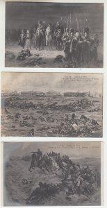 P2211, old postcard 3 dif military napolean,s battle of waterloo scenes unused