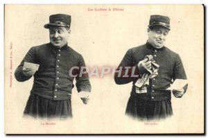 Old Postcard Fancy Man Army Soldier The letter Pitou