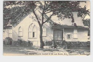 VINTAGE POSTCARD KANSAS OSAWATOMIE FIRST BAPTIST CHURCH EXTERIOR VIEW NEVER POST