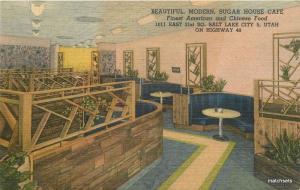 1940s Sugar House Cafe Interior SALT LAKE CITY UTAH Linen TEICH postcard 4832