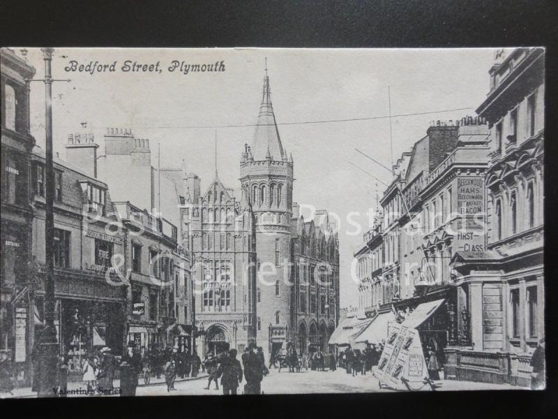 PLymouth: Bedford Street c1906 - Shows FIRE INSURANCE Co & BEECHWOOD HAMS sign