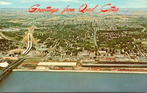Iowa Bettendorf Aerial View Greetings From Quad Cities