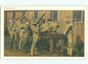Pre-Linen Military USA ARMY SOLDIERS CLEANING RIFLE GUNS AC6013