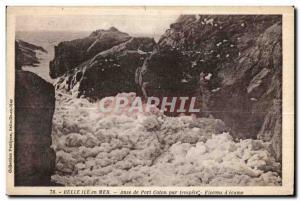 Postcard Old Belle Ile en Mer Anse Port Coton by storm Flakes ecume