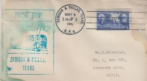 FIRST TRIP HIGHWAY POST OFFICE mail between Denison & Dallas, TX, 1949 - COVER