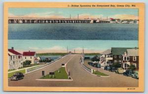 Postcard MD Ocean City Bridge Spanning Sinepuxent Bay Vintage Linen K17