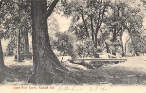 Elkhart Indiana~Island Park Wood Plank Footbridge~Big Trees~1907 B&W Postcard