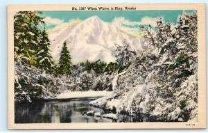 *Snowy Mountains Winter Scene is King Snow Alaska River Vintage Postcard C11