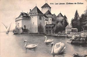 Switzerland Old Vintage Antique Post Card Lac Leman Chateau de Chillon 1927