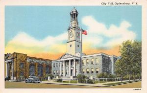 City Hall, Ogdensburg, New York, Early Linen Postcard, unused