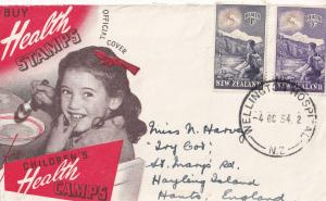 Wellington Hospital Childrens Health Stamps Postmark 1954 New Zealand FDC
