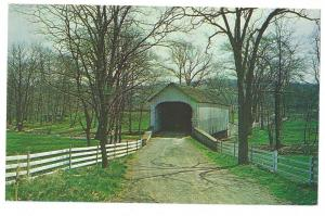 Covered Bridge Postcard Pennsylvania Knecht Bucks County PA