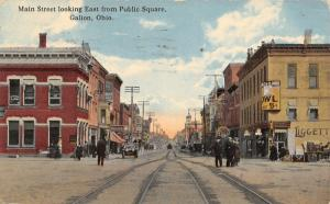 Galion Ohio~Main Street Looking East~Liggett Drug~Owl Cigar~Clock~Attorney~c1912