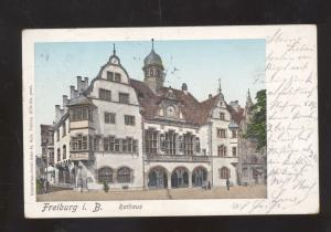 FREIBURG I.B. RATHAUS GERMANY ANTIQUE VINTAGE POSTCARD 1904