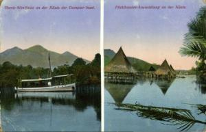 german new guinea, Rheno-Westfalia Boat, Stilt Houses (1918) Mission Postcard