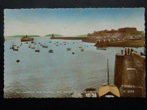 Channel Isles GUERNSEY St. Peter Port Harbour & Castle c1948 RP Postcard