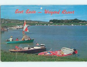 Pre-1980 COLORFUL BOATS IN BOAT BASIN AT RESORT Crofton Nebraska NE J7823