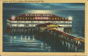 Old Orchard Beach, Me., Casino And Pier At Night