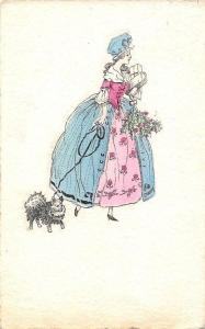 Fancy Fashion Lady Woman, Cute Small Dog Pet, The Alpha Postcard 1919