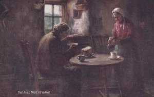 The Auld Folk at Hame, Couple at dinner table eating bread, 1900-10s; TUCK ...