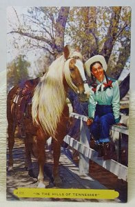 Cowgirl Horse Hills of Tennessee Vintage Postcard