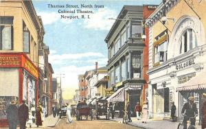 Newport RI Colonial Theatre Woolworth's Store Fronts Postcard