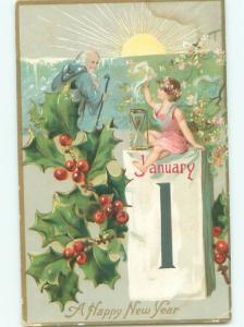 Pre-Linen New Year CUPID AND FATHER TIME WITH CALENDAR AB2640