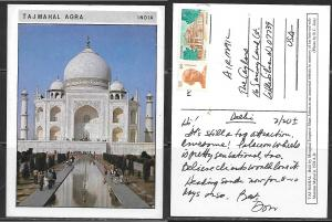 India Agra, Taj Mahal, mailed to USA