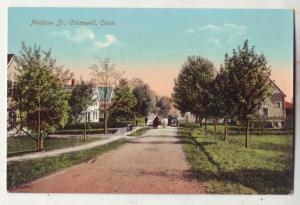 P864 old card dirt road car & horse & wagon medow st. cromwell conn.