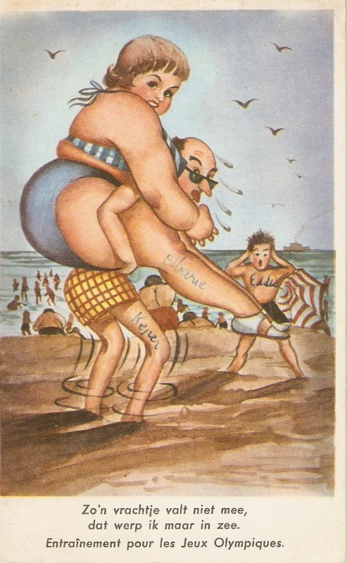 .Training for the Olympic Games  Risque humour Belgian vintage ppstcard