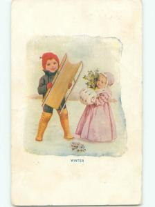 Pre-Linen BOY WITH SLED & GIRL WITH HAND WARMER AC1409