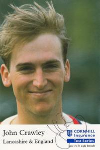 John Crawley Lancashire England Cricket Club Team Player Hand Signed Photo