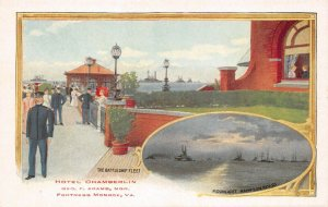 LPS33 Fortress Monroe Virginia Hotel Chamberlin Postcard Battleship Fleet Views